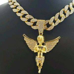 "Other - Hip Hop Bling Gold PT Baby Angel Pendant & 18"" Ful"